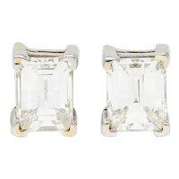 1.20 CTW Barrel Cut Diamond 18 Karat Two Tone Gold Stud Earrings