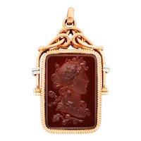 1900 Victorian Carnelian Sard Platinum 14 Karat Rose Gold Intaglio Locket