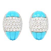 1960's Vintage 5.50 CTW Pave Diamond Turquoise 18 Karat White Gold Earrings