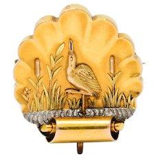 1890's Victorian 14 Karat Tri-Colored Gold Heron Watch Pin Brooch