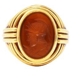 1939 Jones & Woodland Co. Sard Carnelian Intaglio 14 Karat Gold Warrior Signet Ring