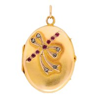Russian Ruby Diamond 14 Karat Gold Bow Locket