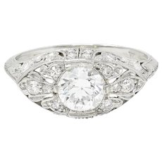 Edwardian 1.30 CTW Diamond Platinum Scrolled Engagement Ring