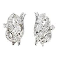 1950's Mid-Century 2.20 CTW Diamond 14 Karat White Gold Ear-Clip Earrings