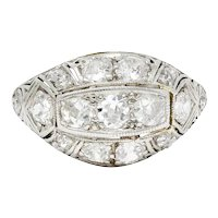Edwardian 1.55 CTW Diamond 18 Karat White Gold Bombe Band Ring