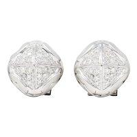 Contemporary 1.00 CTW Pave Diamond 18 Karat White Gold Pyramidal Earrings