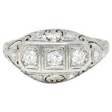 Fulmer & Co. 0.50 CTW Diamond 19 Karat White Gold Palm Leaf Bombe Band Ring