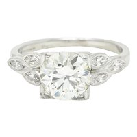 1950's Mid-Century 1.60 CTW Diamond Platinum Engagement Ring