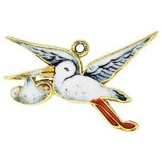 Retro Enamel 14 Karat Gold Stork Delivery Charm