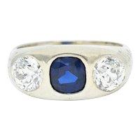 Retro 3.05 CTW No Heat Sapphire Diamond 18 Karat White Gold Gypsy Ring GIA