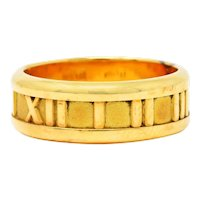 1995 Tiffany & Co. 18 Karat Gold Unisex 7 MM Atlas Band Ring