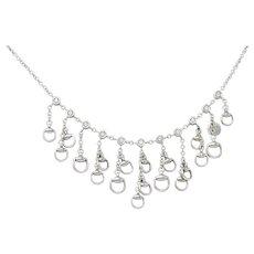 Gucci Diamond 18 Karat White Gold Horsebit Fringe Necklace