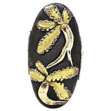 1860's Victorian Shakudo Silver 10 Karat Mixed Metal Ginseng Root Ring
