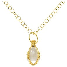 Large Temple St. Clair Rock Crystal Diamond 18 Karat Gold Classic Amulet Drop Necklace