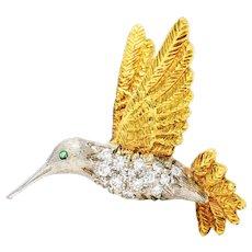 1970's Vintage Emerald Diamond 18 Karat Two-Tone Gold Hummingbird Brooch