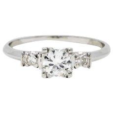 Mid-Century 0.38 CTW Diamond Platinum Engagement Ring