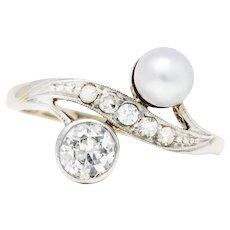 Retro Pearl Diamond 14 Karat White Gold Toi Et Moi Ring
