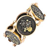 1860's Victorian Shakudo 14 Karat Rose Gold & Mixed Metal Circle Link Bracelet
