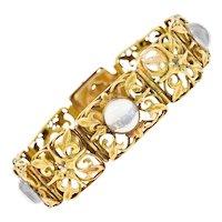 Arts & Crafts Moonstone 14 Karat Gold Ivy Link Bracelet