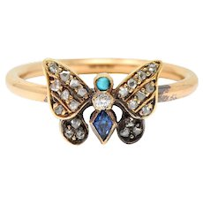 Victorian Diamond Sapphire Turquoise 14 & 18 Karat Rose Gold Butterfly Ring