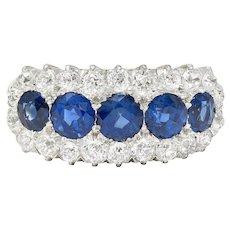 Edwardian 4.20 CTW Sapphire Diamond Platinum-Topped 18 Karat Gold Cluster Ring