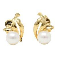 Mikimoto Retro Cultured Pear 14 Karat Gold Screwback Earrings