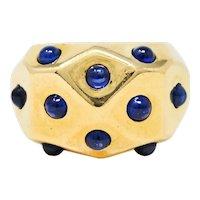 1950's Vintage Sapphire 18 Karat Gold Bombe Band Ring