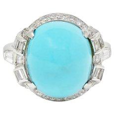 1950's Mid-Century Turquoise Diamond Platinum Cluster Ring