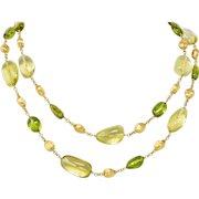 Marco Bicego Peridot Lemon Quartz 18 Karat Gold Gemstone Station Necklace