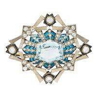 Art Deco 16.90 CTW Aquamarine Diamond Plique-A-Jour 14 Karat White Gold Brooch