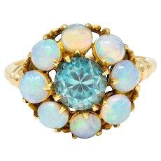 Retro Blue Zircon Opal 14 Karat Gold Cluster Ring