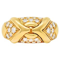 Bulgari Pave Diamond 18 Karat Yellow Gold Trika Band Ring