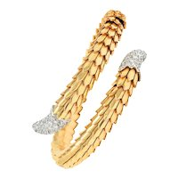 Roberto Coin 1.25 CTW Pave Diamond 18 Karat Two-Tone Animalier Cobra Cuff Bracelet