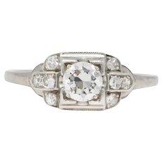 1950's Mid-Century 0.65 CTW Diamond Platinum Engagement Ring