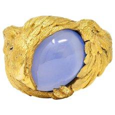 1960's Vintage Blue Chalcedony 14 Karat Gold Men's Condor Bird Ring