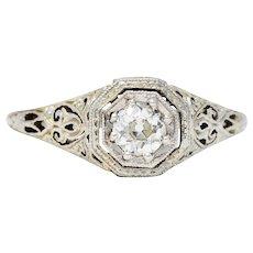 Early Art Deco 0.25 CTW Diamond 18 Karat Platinum-Topped Engagement Ring Circa 1920s