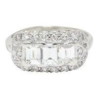 1950's Mid-Century 2.00 CTW Diamond Platinum Dinner Ring
