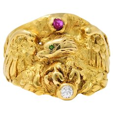 1890 Victorian Diamond Ruby 14 Karat Gold Eagle Ring