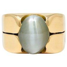 1970's Vintage Cat's Eye Chrysoberyl 18 Karat Gold Band Ring