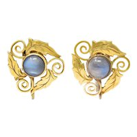 Arts & Crafts Moonstone 18 Karat Gold Foliate Screwback Earrings
