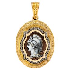 Substantial 1870's Victorian Enamel Diamond 18 Karat Rose Gold Mourning Locket