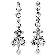 1860's Victorian 2.50 CTW Diamond Silver-Topped 14 Karat Gold Foliate Drop Earrings