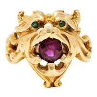 Art Nouveau Demantoid Garnet Ruby 14 Karat Gold Gargoyle Band Ring