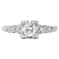 1950's Mid-Century 0.50 CTW Diamond Platinum Engagement Ring
