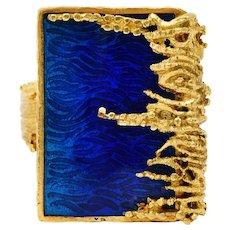1970's Vintage Guilloche Enamel 18 Karat Gold Statement Ring