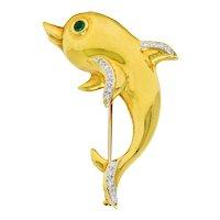 Vintage Diamond Emerald 18 Karat Two-Tone Gold Dolphin Brooch