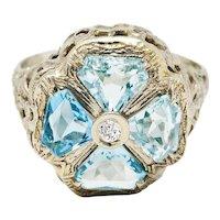 Early Art Deco 1.38 CTW Aquamarine Diamond 14 Karat White Gold Clover Ring