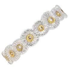 Buccellati 1.50 CTW Fancy Brown Diamond Sterling Silver Vermeil Gardenia Blossoms Cuff Bracelet