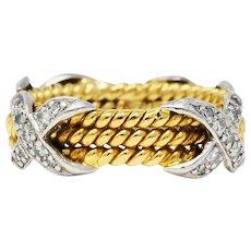 Schlumberger Tiffany & Co. Diamond Platinum 18 Karat Gold X Band