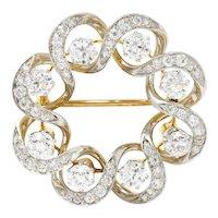 Edwardian 3.85 CTW Diamond Platinum-Topped Wreath Brooch